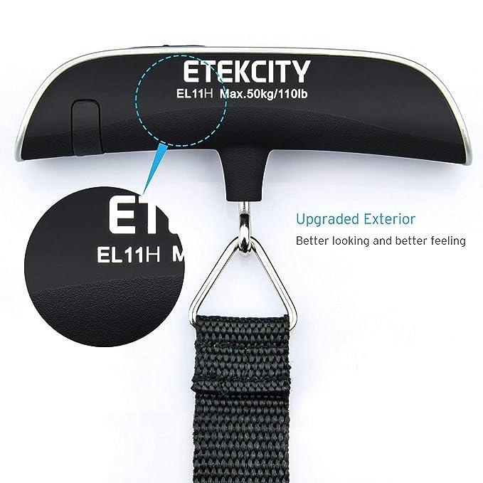 ETEKCITY EL11H Báscula Digital de Equipaje 50kg, Balanza Ergonómica con Sensor de Temperatura, Dinamometro con Pantalla LCD, Función de Tara y ...