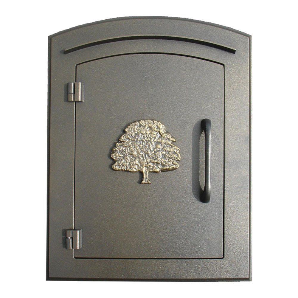 Qualarc MAN-S-1404-BZ Manchester Security Drop Chute Mailbox with ''Decorative Oak Tree Logo'' Faceplate in Bronze by Qualarc