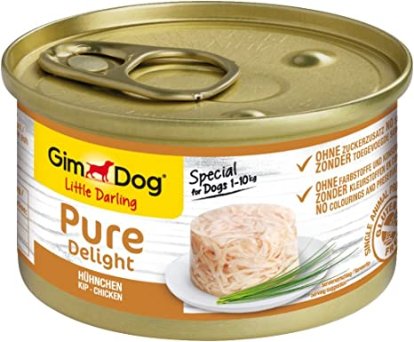 GimDog Pure Delight, pollo - Snack para perros rico en proteínas, con carne tierna en deliciosa gelatina - 12 latas (12 x 85 g)