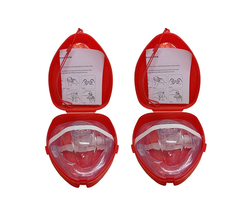 CPR RESUSCITATION FACE MASK CPR POCKET MASK (2 Pack CPR FACE SHIELD)