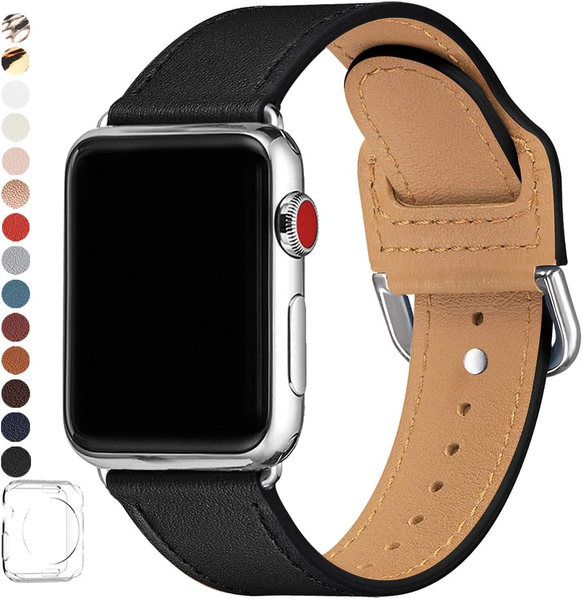 POWER PRIMACY Bands Compatible with Apple Watch Band 38mm 40mm 42mm 44mm, Top Grain Leather Smart Watch Strap Compatible for Men Women iWatch Series 6 5 4 3 2 1,SE (Black/Silver, 42mm/44mm)
