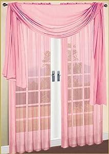 "Decotex Sheer Voile Transparent Window or Event Decor Scarf Valance - Various Sizes & Colors (37"" W x 216"" L, Light Pink)"