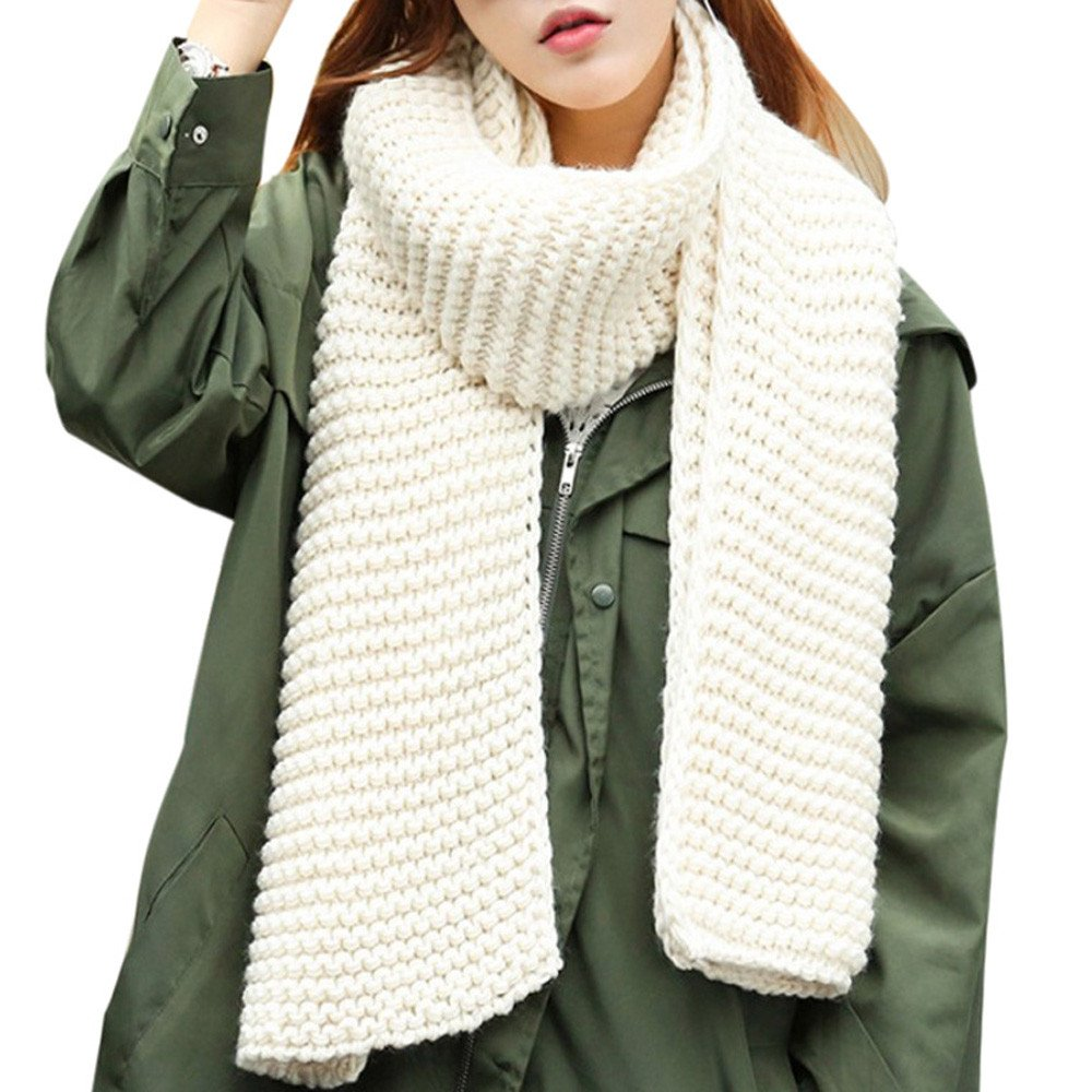 Bolayu Fashion Women Solid Color Wave Pattern Scarf Long Section Shawl Scarves (White)