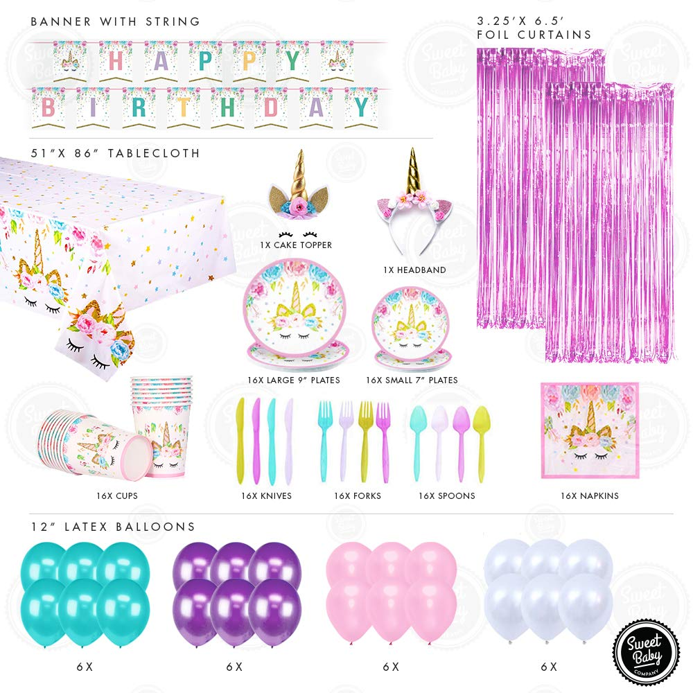 Unicorn Party Supplies Set And Birthday Decorations For Girls With Plates Utensils Cake Topper Sweet Baby Co Headband Napkins Cups Balloon Table Cover Photo Backdrop Pink, Teal, Purple