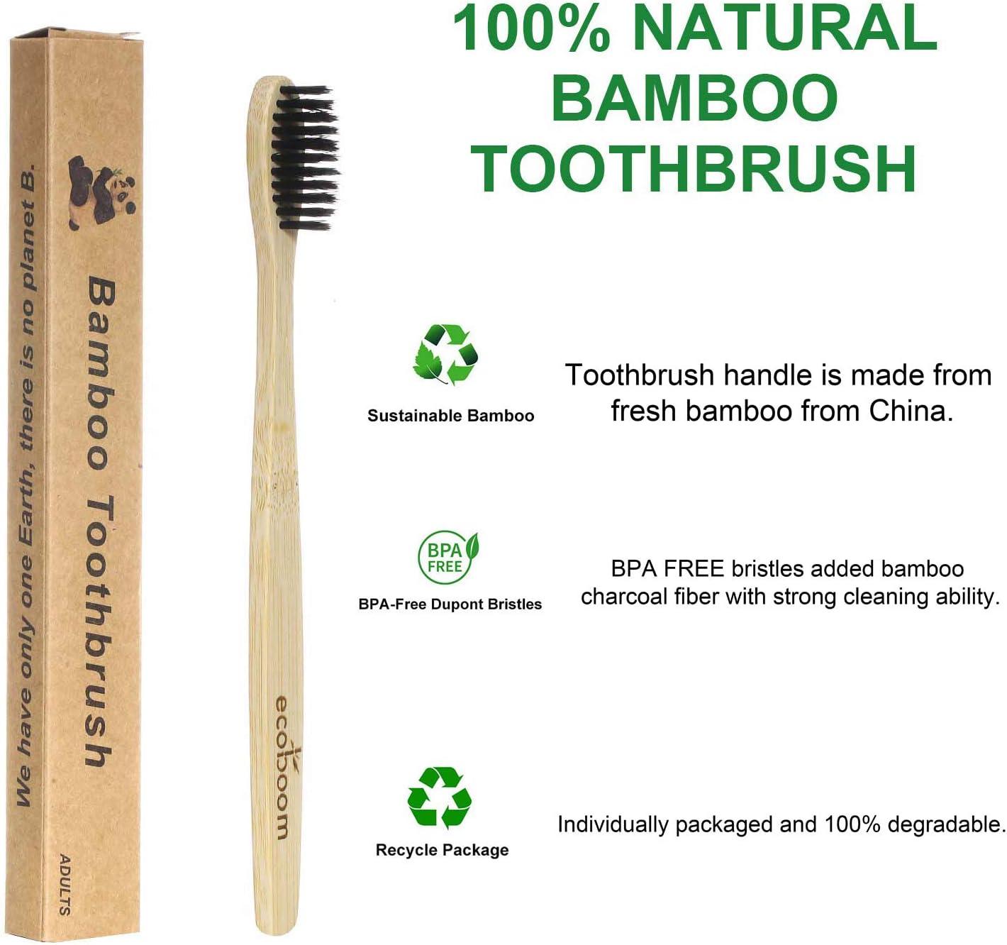 Ecoboom - Cepillo de dientes de bambú biodegradable, sin BPA ...