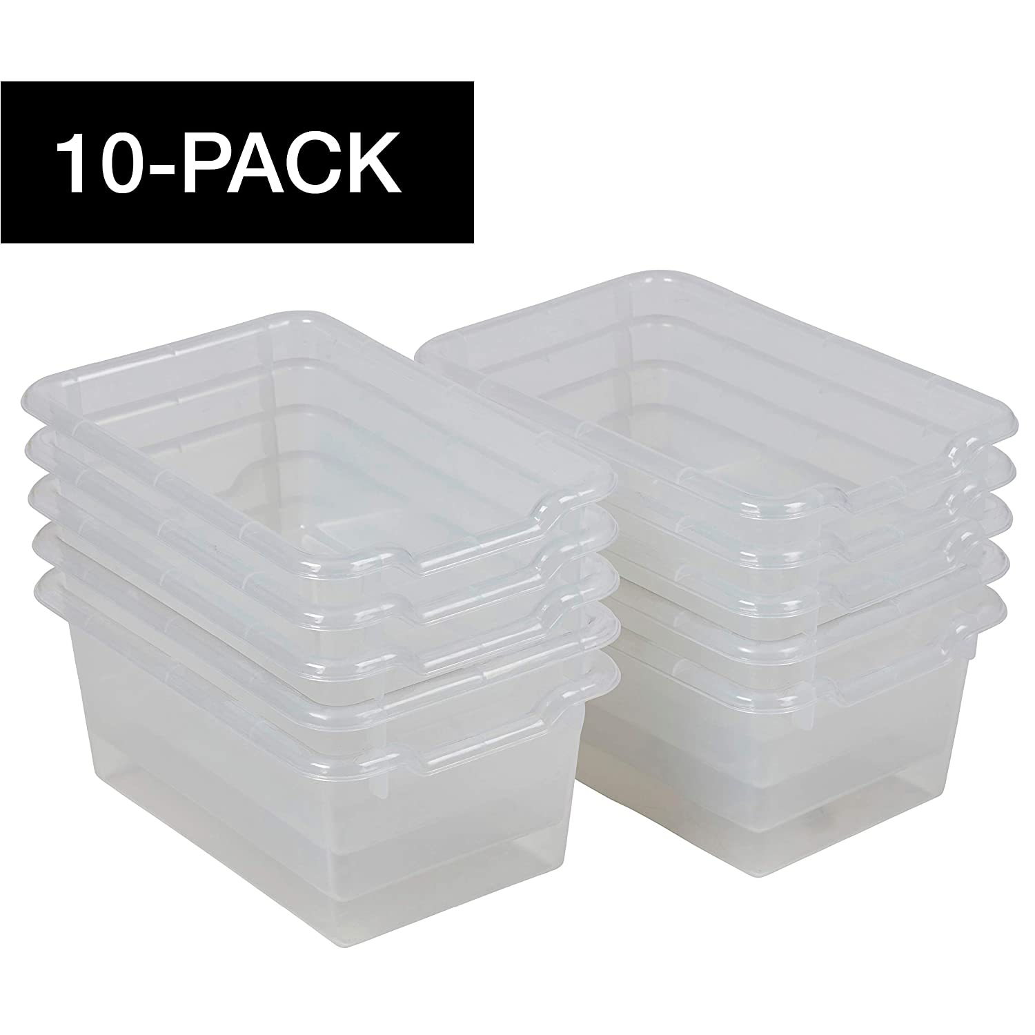 ECR4Kids Scoop-Front Storage Bins, Easy-to-Grip Design Storage Cubbies, Kid Friendly and Built to Last, Pairs with ECR4Kids Storage Units, 10-Pack, Clear
