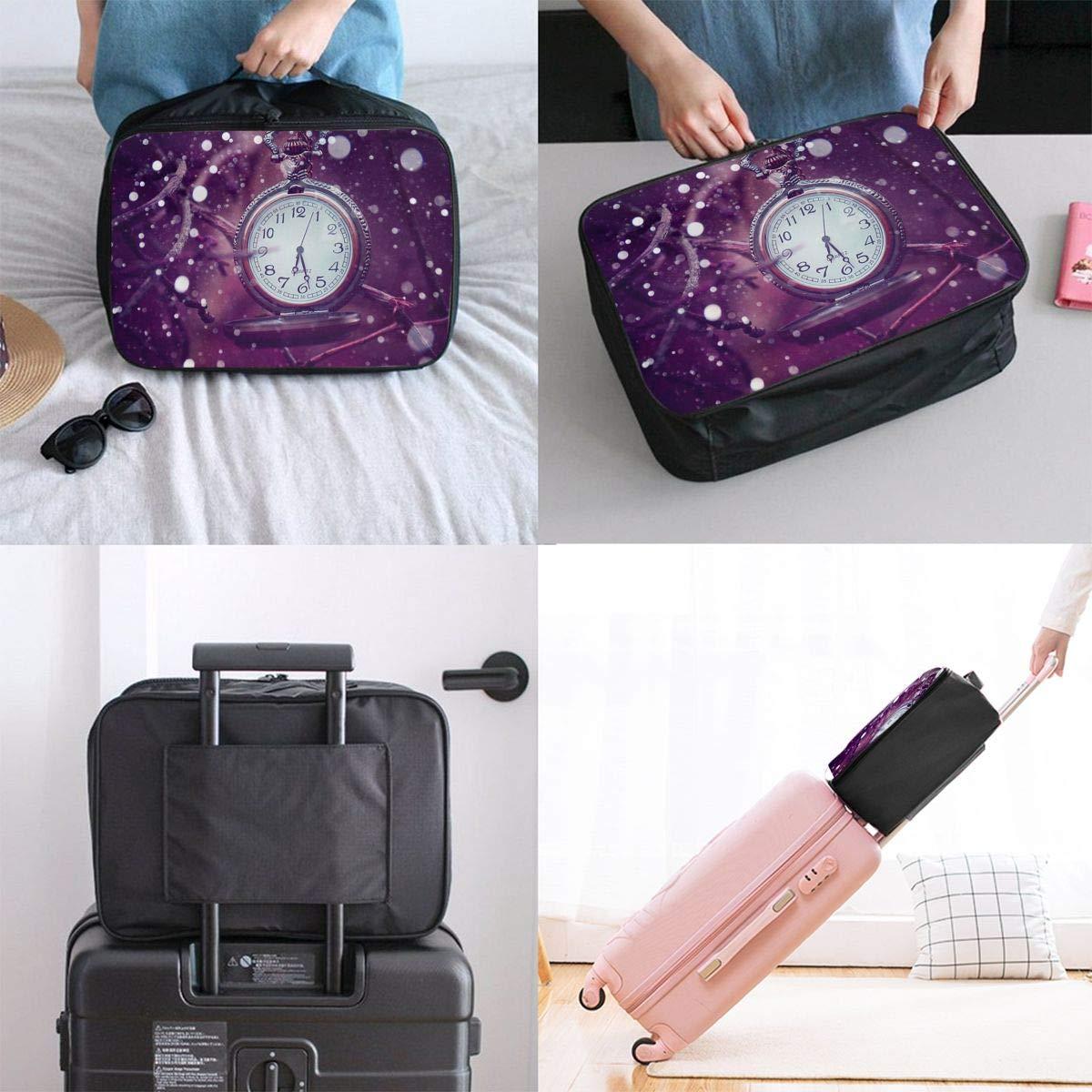 Travel Luggage Duffle Bag Lightweight Portable Handbag Clock Large Capacity Waterproof Foldable Storage Tote