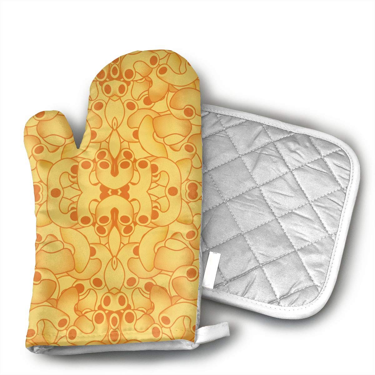 QEDGC Macaroni and Cheese Oven Mitts Cooking Gloves Heat Resistant, for Kitchen Oven BBQ Grill and Fire Pits for Cooking Baking,
