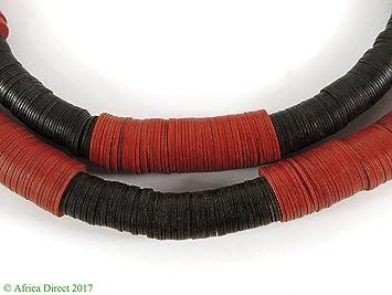 """Vulcanita """"vinilo Heishi cuentas de comercio negro y rojo África"""