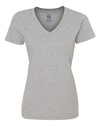 8c51949b Fruit of the Loom Ladies Heavy Cotton HD V-Neck T-Shirt, XL, ATHLETIC  HEATHER at Amazon Women's Clothing store: