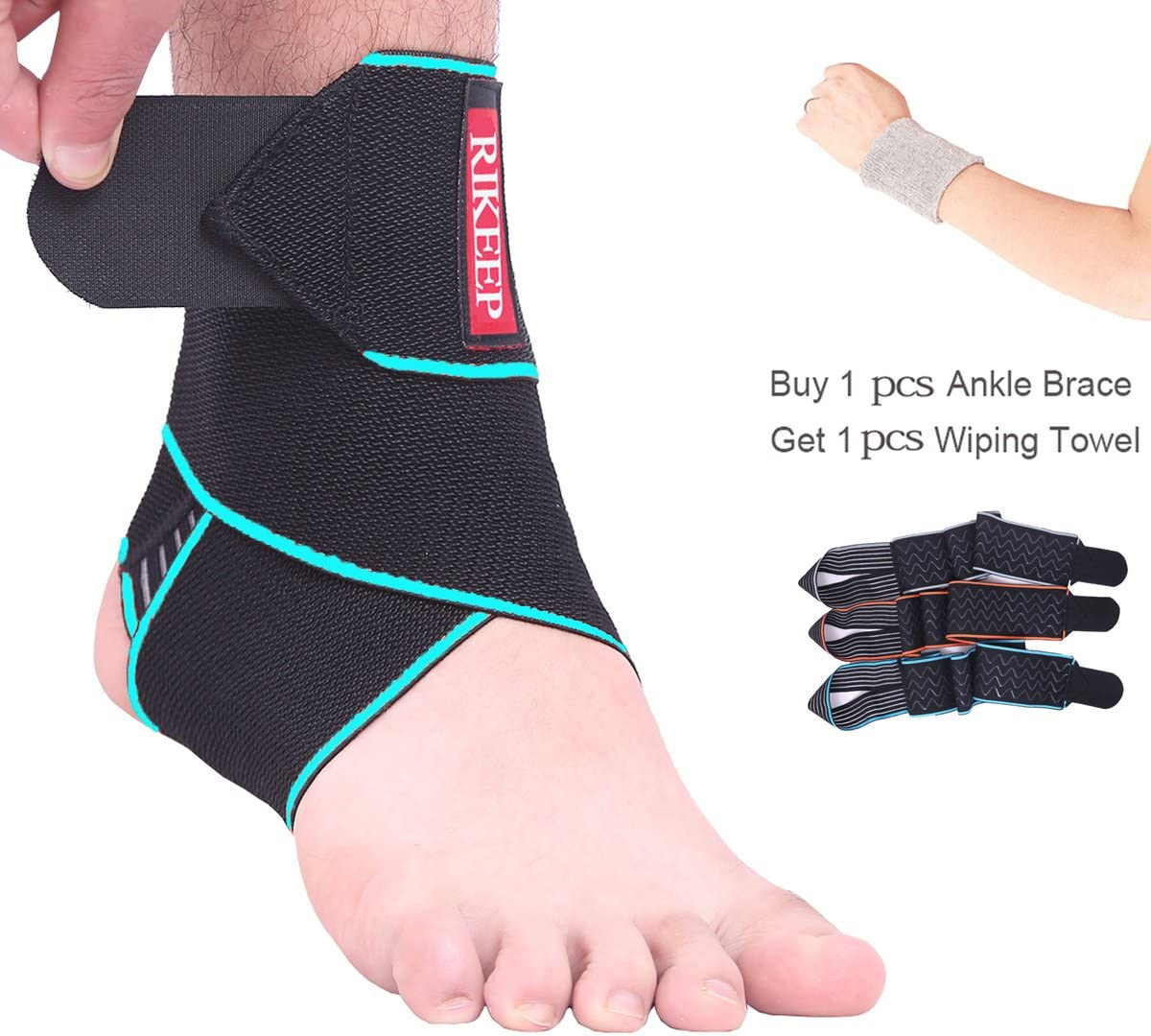 Ankle Support,Adjustable Ankle Brace Breathable Nylon Material Super Elastic and Comfortable,1 Size Fits all, Protects Against Chronic Ankle Strain, Sprains Fatigue,blue: Health & Personal Care