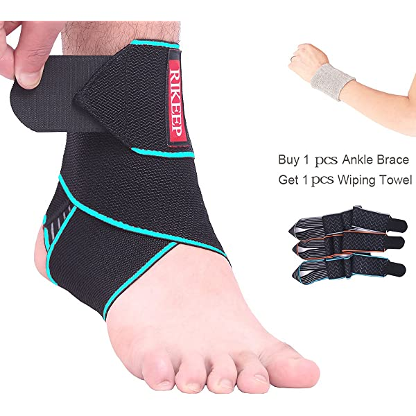 Breathable Neoprene Sleeve Adjustable Wrap// 1 Size Fits All Lysa Ankle Support Sprains Fatigue Protects Against Chronic Ankle Strain