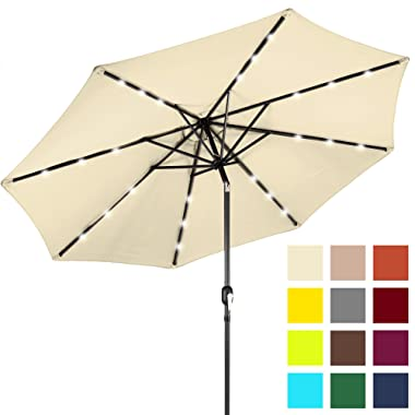 Best Choice Products 10ft Solar LED Lighted Patio Umbrella w/Tilt Adjustment - Pale Yellow