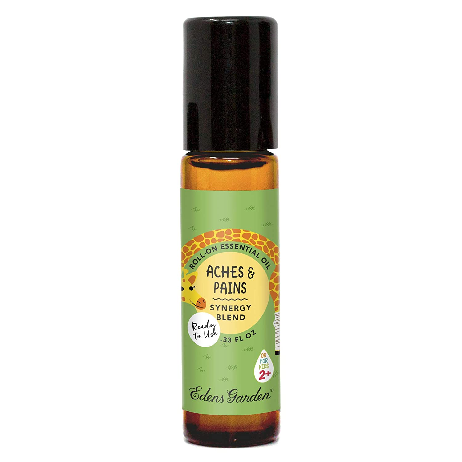 "Edens Garden Aches & Pains""OK For Kids"" Essential Oil Synergy Blend, 100% Pure Therapeutic Grade (Child Safe 2+, Pre-Diluted & Ready To Use- Massage & Pain) 10 ml Roll-On"