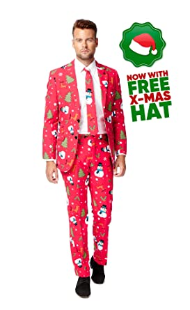 Opposuits Mens Christmas Suit with Free Santa Hat for The Holidays Christmaster US36  sc 1 st  Amazon.com & Amazon.com: Opposuits Mens Christmas Suit with Free Santa Hat for ...
