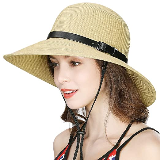 cce4c4a6e Small Head Womens Packable Straw Sun hat Panama Fedoras Wide Brim ...
