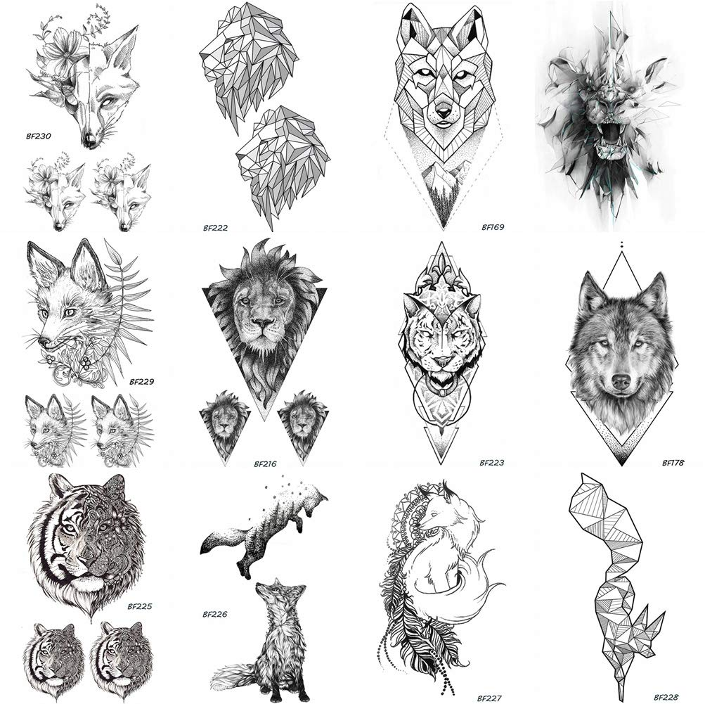 Amazon com 12 pieces lot coktak geometry pencil sketch lion tiger face fox design water transfer temporary tattoo paper women black arm tattoos men