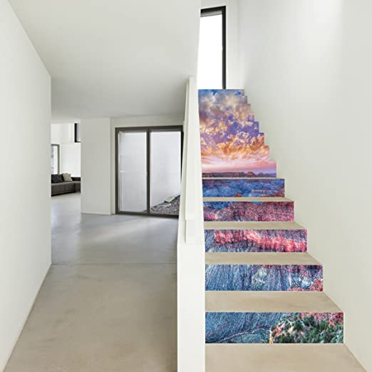 Escaleras Pegatinas Paisaje Puesta del Sol Gran Cañón Pegatinas Escaleras Porche Salón Dormitorio Creativo Pegatinas De Pared,100 * 18cm*13pcs: Amazon.es: Hogar