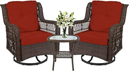 I-Choice 3-Piece Patio Furniture Wicker Rattan Bistro Furniture Set Outdoor Patio Conversation Set