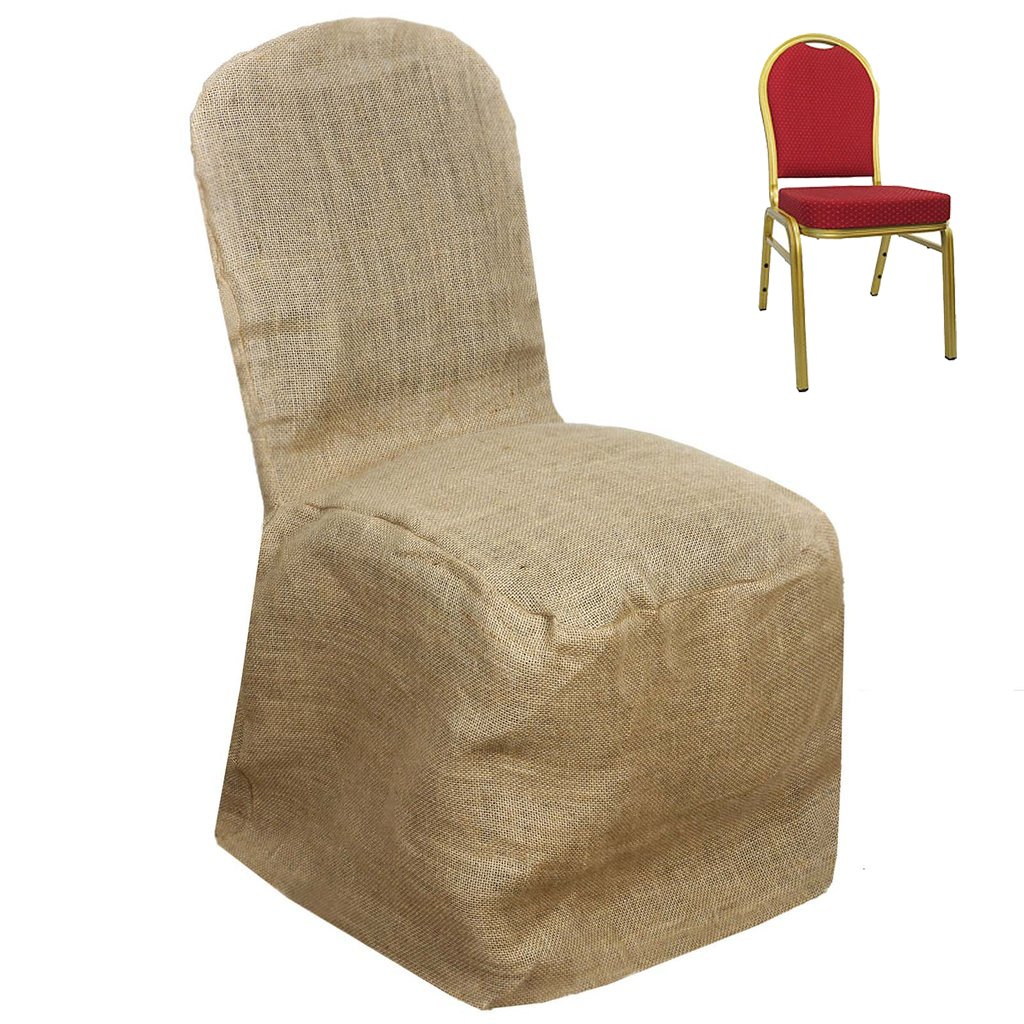 Efavormart Natural Jute Burlap Banquet Chair Cover Dinning Chair Slipcover for Wedding Party Event Banquet Catering