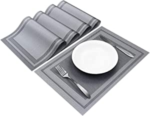 Sweet Elegance [Set of 4] Woven Texture Placemat Table Mat Durable Washable Reusable Heat Resistant and Stain Resistant PVC Placemats for Kitchen Restaurant Dining Table (Grey)