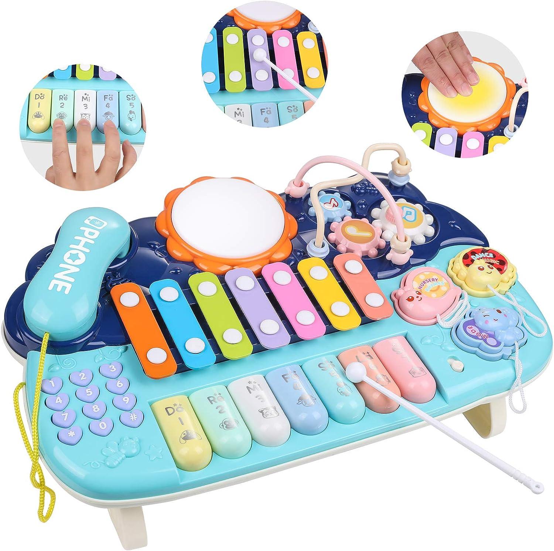 Lictin Juguete Musical para Bebés-Juguete Musical de Piano para Bebés Niños y Niñas con Baquetas Juguetes de Instrumentos Musicales para Bebés con Luz ...