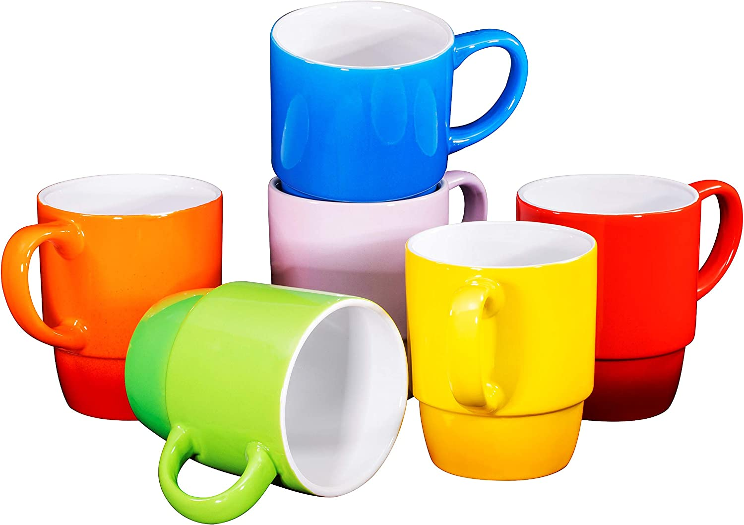 Ceramic Stacking Coffee Mug Tea Cup Dishwasher Safe Set of 6 - Large 18 Ounce, Gradient Colors
