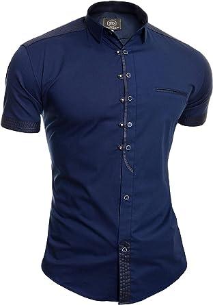 Camisa Casual de Manga Corta para Hombre Collar Clasico Botones de Metal Algodón: Amazon.es: Ropa y accesorios