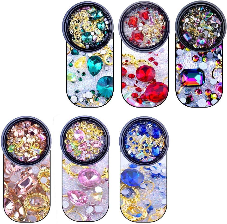 YGSAT 6 cajas Nail Art Rhinestones Diamonds Beads Tamaño mezclado Flat Back Crystal Rhinestones para DIY Crafting Jewelry Makeup 3D Decoraciones