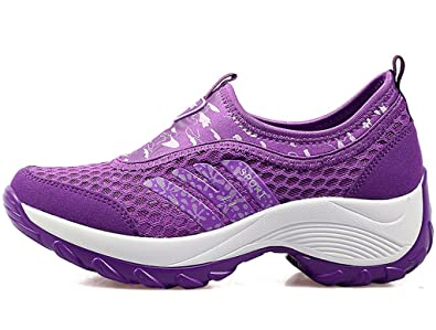 DADAWEN Women's Slip-On Platform Fitness Work Out Sneaker Purple US Size 5.5/Asia Size 36 l2zDH2so8