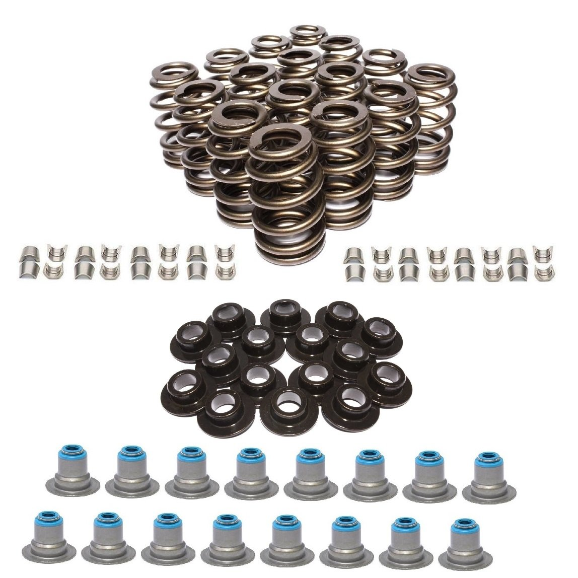 AMS Racing GM LS1 LS2 LS3 LSX 4.8 5.3 5.7 6.0 6.2 Beehive Valve Springs Kit with Seals, Retainers, and Locks (.580 Max Lift)