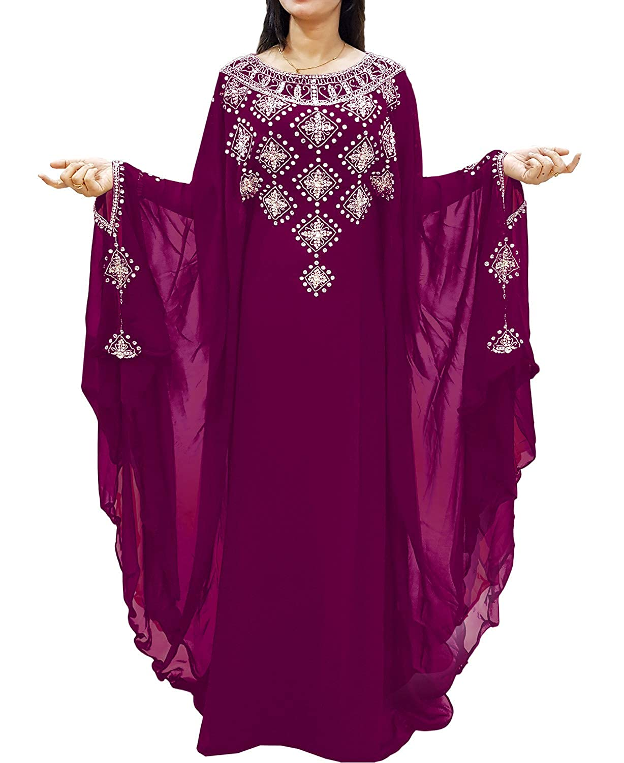 Wine African Boutique Long Sleeve Plus Size Beaded Mgoldccan Kaftans African Dresses for Women