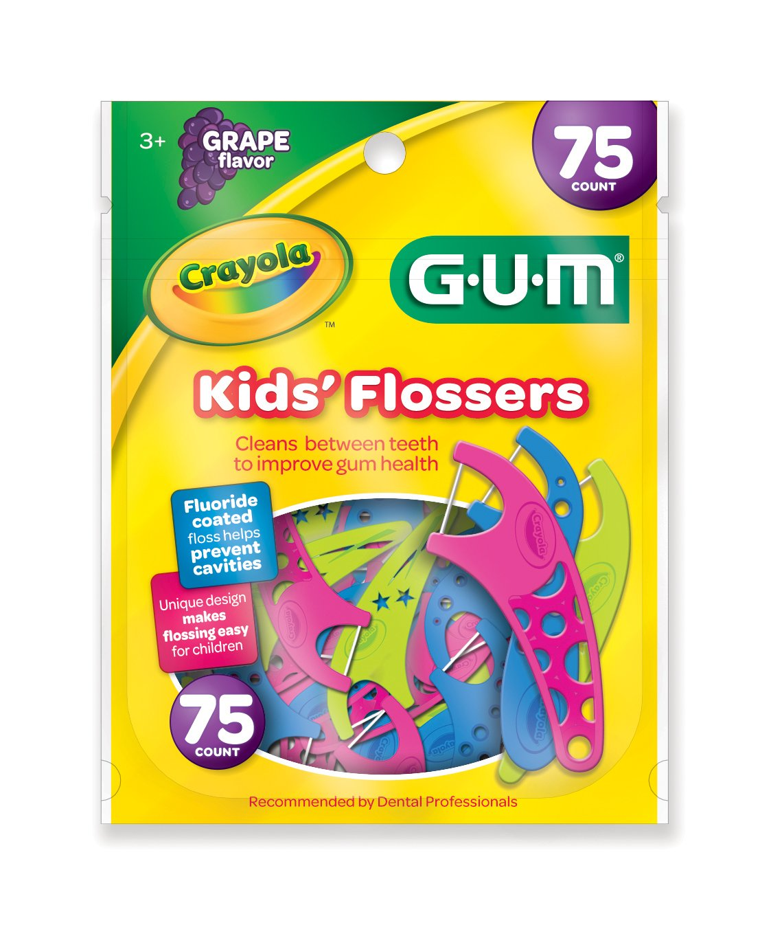 Sunstar 897RZ GUM Crayola Kids' Flosser, 75 Count, Grape Flavor