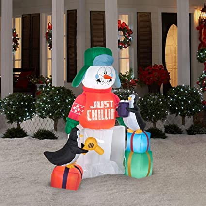 gemmy airblown inflatable animated shivering snowman in ice with penguins trying to thaw him out - Penguin Outdoor Christmas Decorations