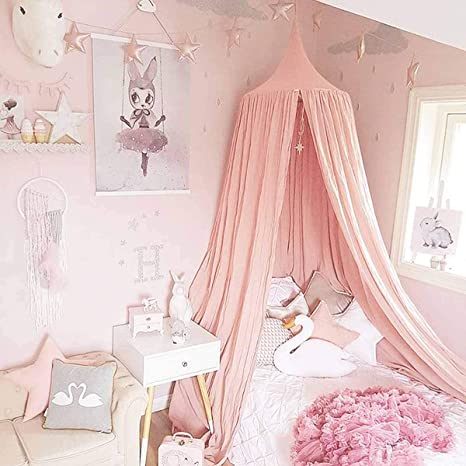 Children Bed Canopy Kids Round Dome Play Tent Hanging Cotton Mosquito Net Curtain Round Tent for Nursery Bedroom Decoration Pink