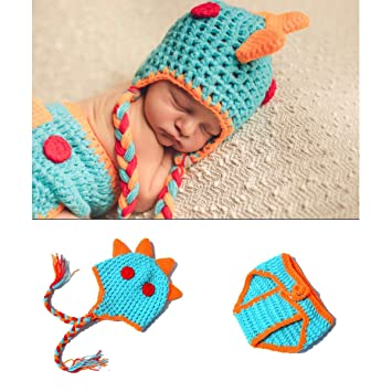 fdac504e7 Amazon.com: LERORO Crocheted Dinosaur Outfit Newborn Photography Props  Handmade Knitted Photo Prop Infant Accessories for Baby Boys and Girls: Baby