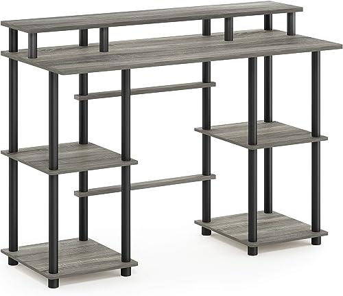 FURINNO Turn-N-Tube Computer Desk, French Oak Grey Black