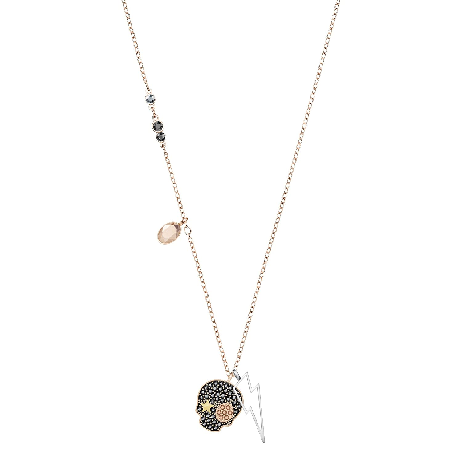 04e2ee53336ac Swarovski Duo Skull Necklace, Multi-Colored, Mixed Plating