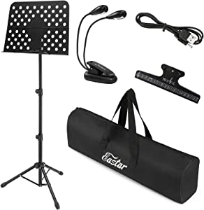 Eastar Metal Music Stand for Sheet Music -Extra-Wide Bookplate- Tall Projector Stand Podium Tripod Portable Foldable Piano Stand with LED Light Music Clip Carrying Bag EMS-1 Black 19'x13.7'Large Tray