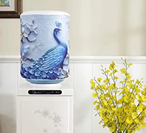 DFYOUHome Water Dispenser Barrel Covers, Reusable Furniture Standard Cover Protector for Home, Office and 5 Gallon Water Bottle, Durable Fabric Bucket Décor (Peacock1)