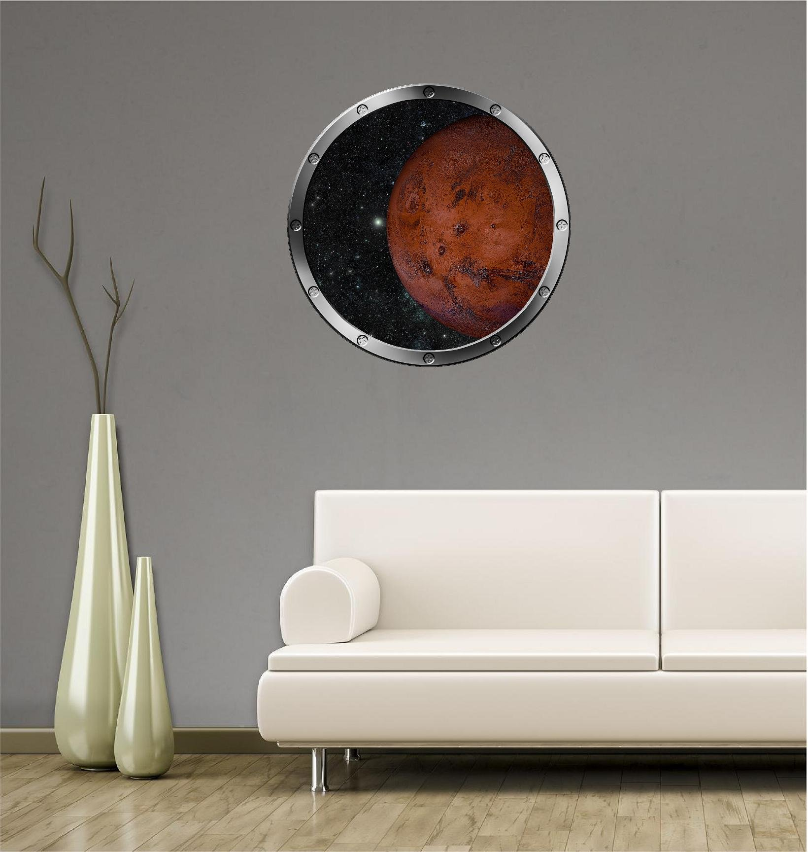 24'' Porthole Instant Outer Space Ship Window View PLANET MARS #1 SILVER Wall Decal Kids Sticker Room Home Art Décor Graphic MEDIUM