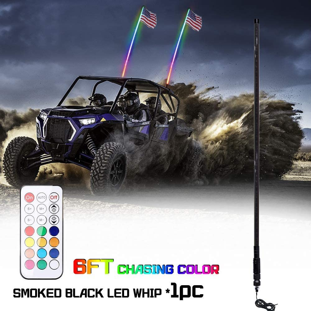 Smoked Black RF Remote Controll RGB LED Whips Light With Dacning//Chasing Light LED Antenna Light For Off Beatto 2PCS 5FT Road Vehicle ATV UTV RZR Jeep Trucks Dunes 1.5M