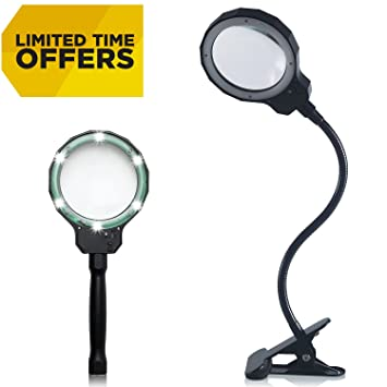Tartek Rechargeable Magnifying LED Lamp 3X Optical Magnifier Glass Lens  With 3 Adjustable Light Settings