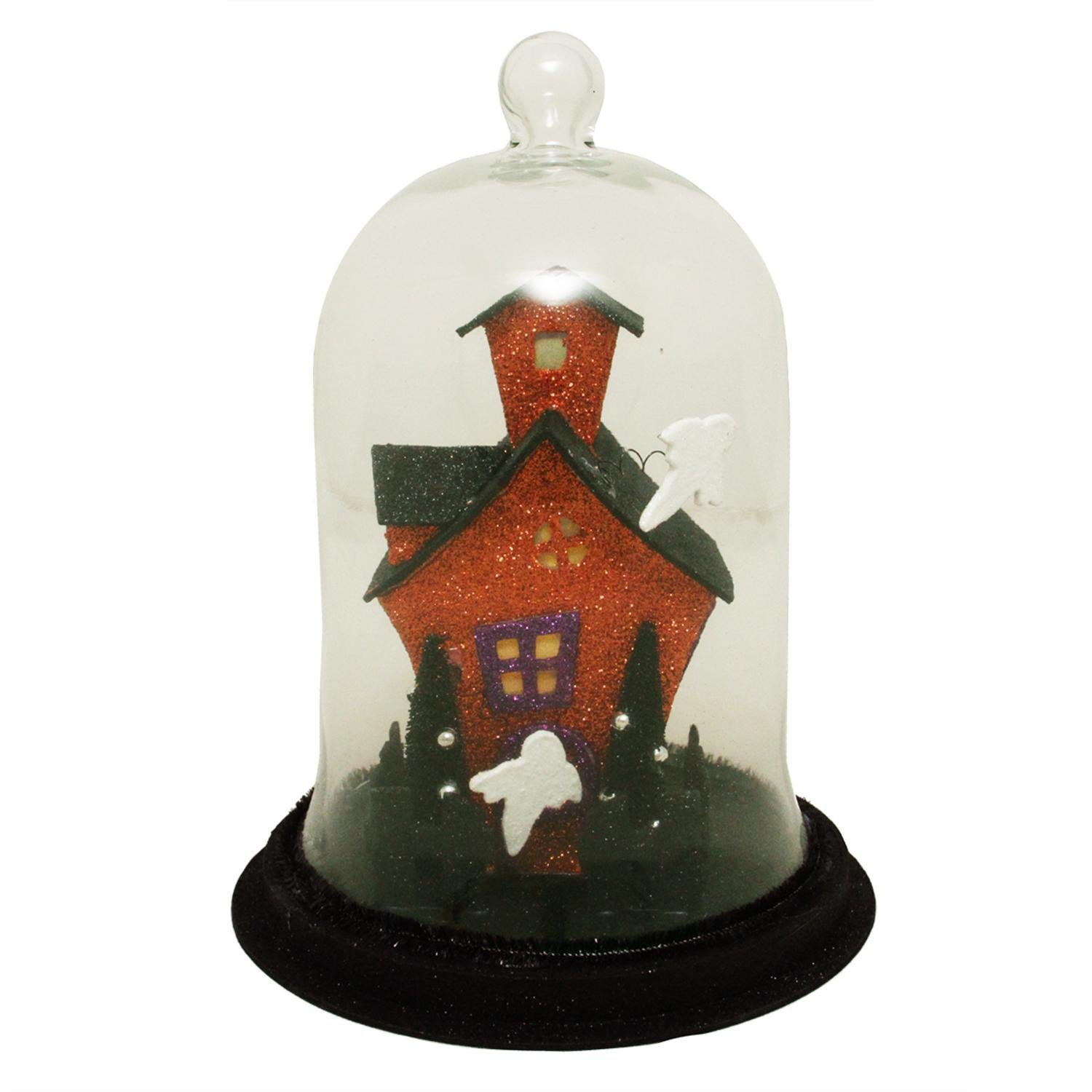 Allstate AAF664 BK OR 9 Lighted Spooky Haunted House with Ghosts Decorative Halloween Dome Cloche