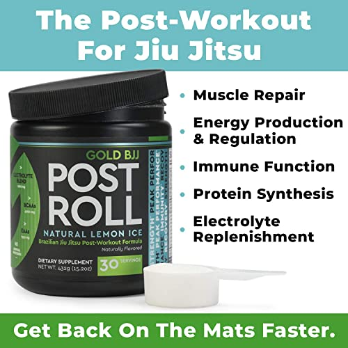 Gold BJJ PostRoll – Jiu Jitsu Post Workout Supplement with EAA BCAA Essential Amino Acids – Martial Arts Specific Post-Workout Powder Lemon Ice, 30 Servings