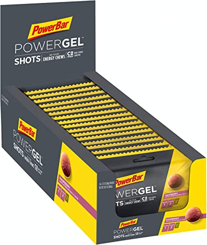 PowerBar PowerGel Energy Chews Box of 16 Individual Packs C2MAX Energy Shots for Performance Athletes and Intense Training, Raspberry