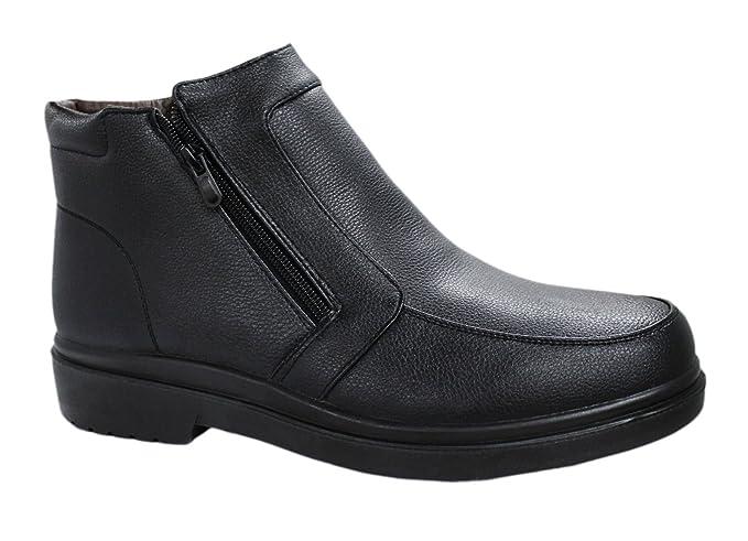 AK collezioni Scarpe stivaletti uomo nero casual invernali sneakers  polacchine con pelliccia interna numero 40 41 b24c08c1d83