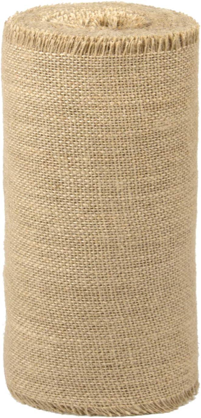 LaRibbons 4 Inch Wide Burlap Fabric Craft Ribbon On Spool 10 Yards