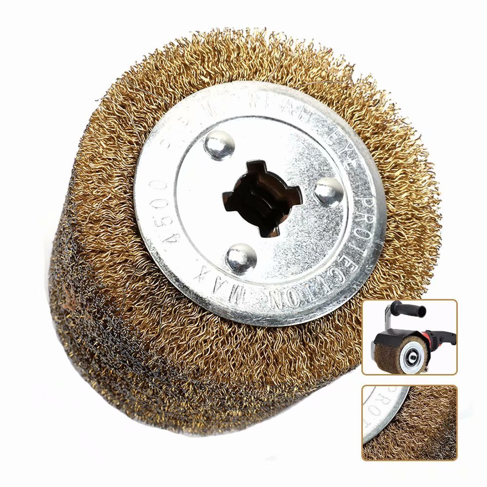 120x105mm Wire Drawing Flap Polishing Burnishing Wheel Grinding Abrasive Tool for The Surface Treatment of Stainless Steel, Aluminum, Copper and other Metal Products 0.5mm Wire