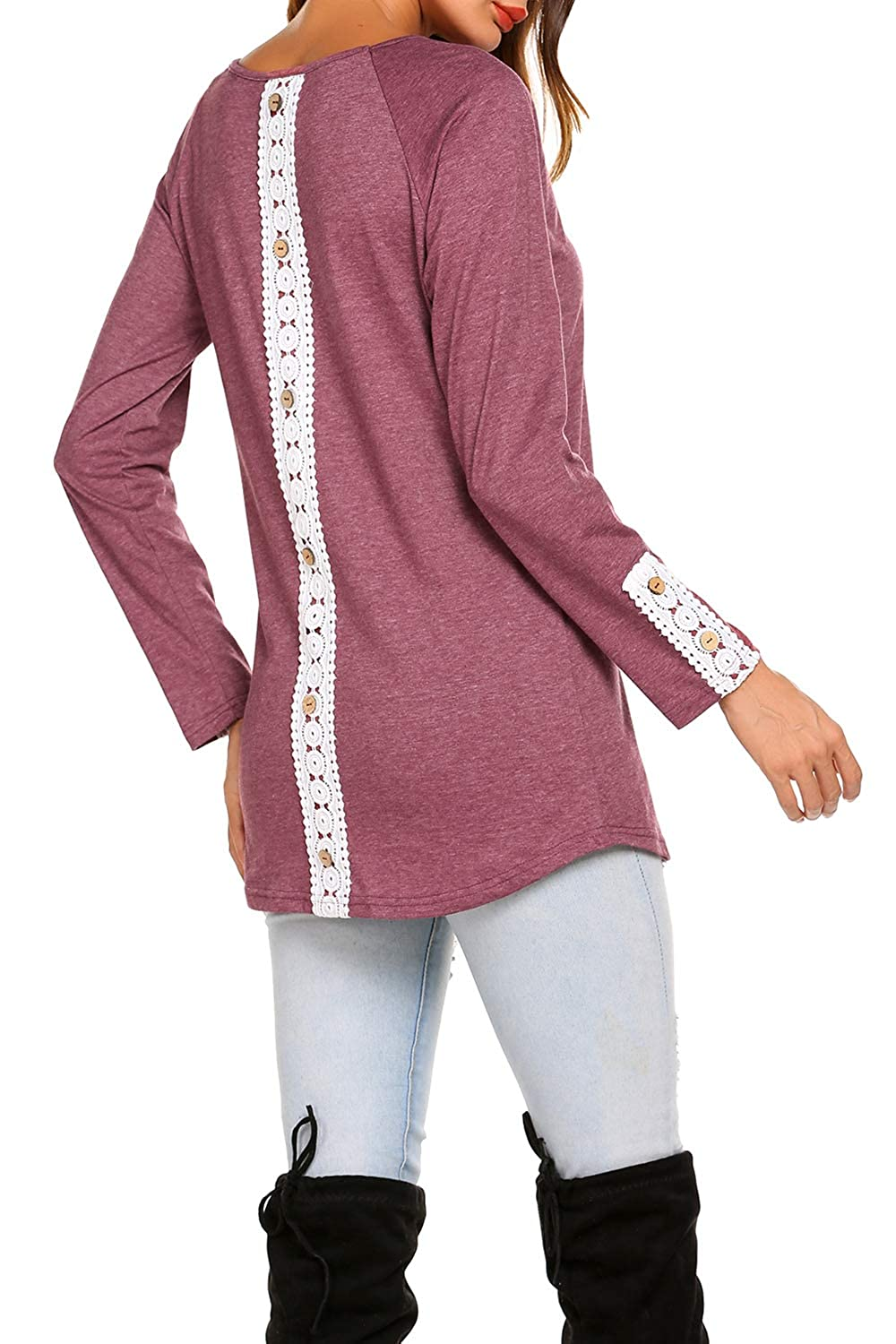e9509943fa BLUETIME Women Casual Back Lace Solid Tunic Tops Long Sleeve T-Shirts  Blouses with Buttons at Amazon Women's Clothing store: